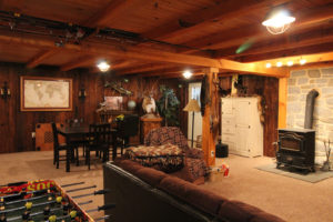 new basement renovation that is furnished