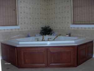 wood finished bath tub in new bathroom