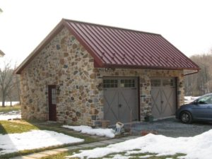 stone sided custom garage