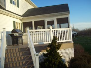 side view of new deck and attached porch