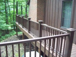 brown deck and railing