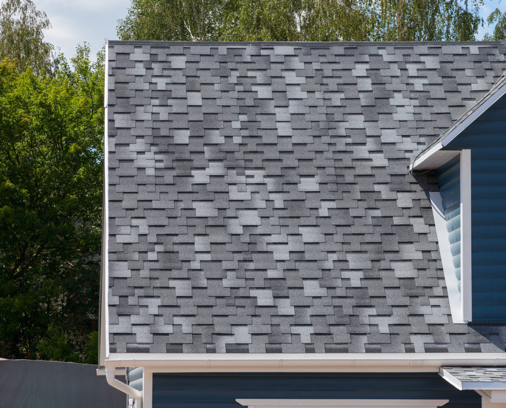 gray shingles close up
