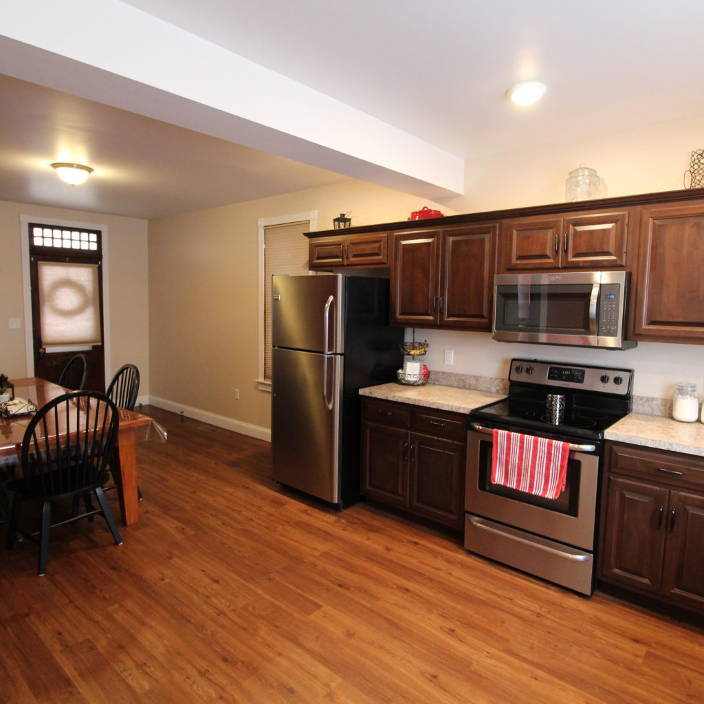new kitchen interior remodel with wooden floors