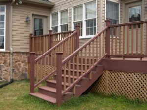 redwood outdoor deck and stairs attached to house