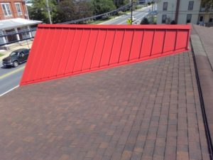 aerial view of red metal roof