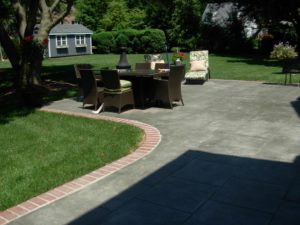 stone patio outside residential home
