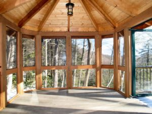 newly wooden sunroom addition