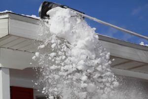 snow getting pushed of roof