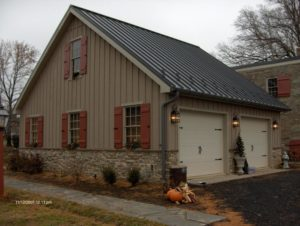 gray metal roof on two car garage