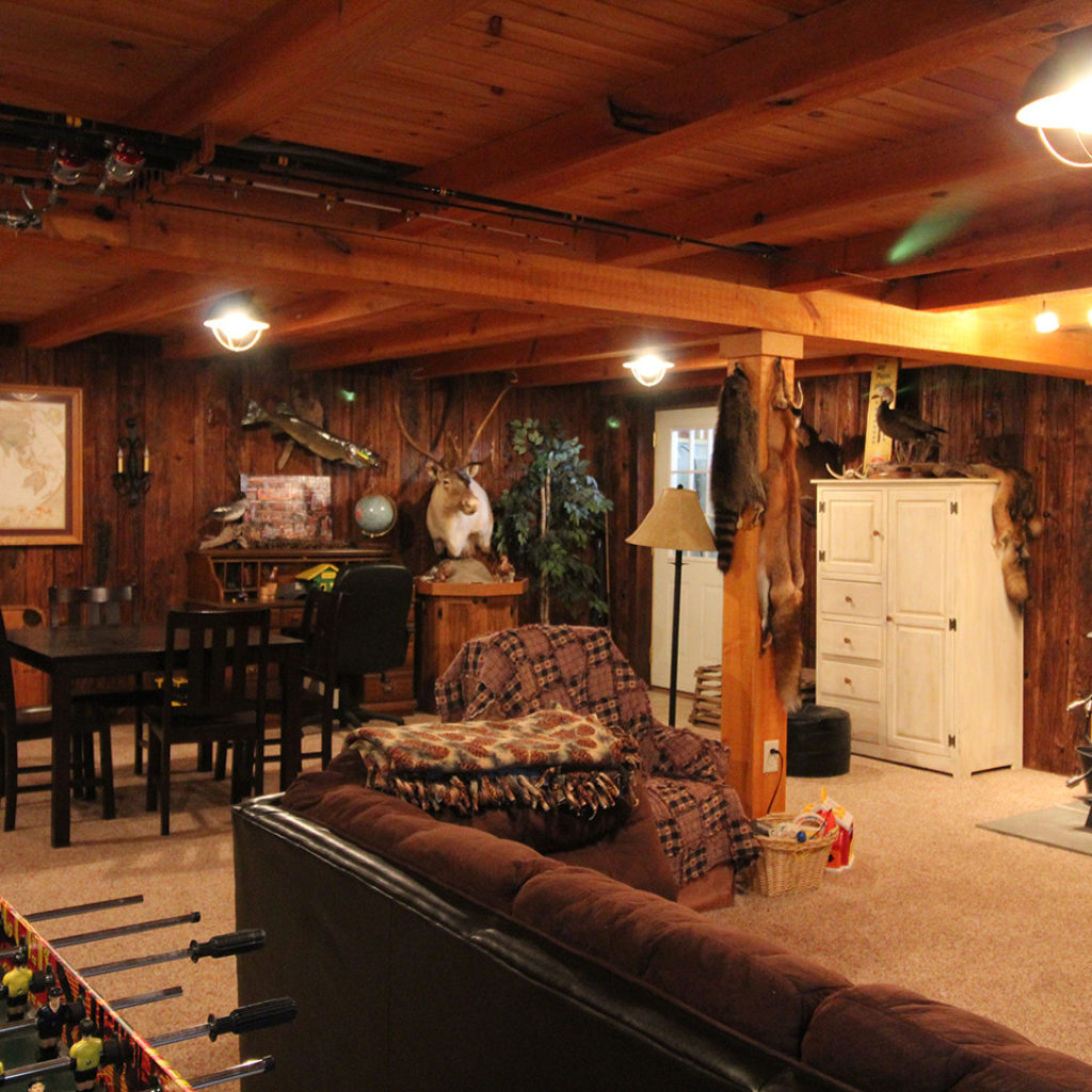 inside look of newly renovated cabin basement