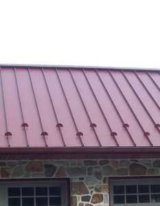 close up of red metal roof
