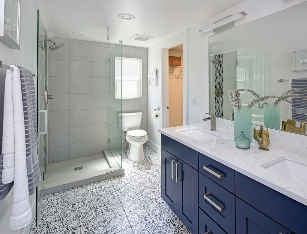 bathroom makeover with new shower